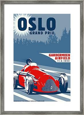 Oslo Grand Prix 1950 Framed Print by Georgia Fowler