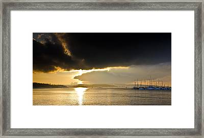 Oslo Harbor Sunset Framed Print by Aaron Bedell