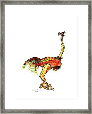 Ostrich Card No Wording Framed Print by Michael Shone SR