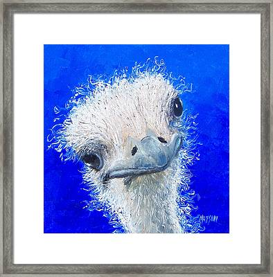Ostrich Painting 'waldo' By Jan Matson Framed Print by Jan Matson