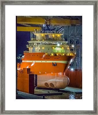 Osv In Port Fourchon Drydock Framed Print