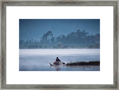 Otavalo Indian Fisherman Using Framed Print by Pete Oxford