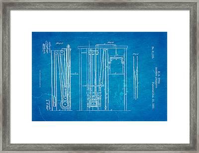 Otis Elevator Patent Art 1861 Blueprint Framed Print by Ian Monk