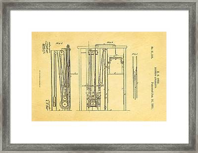 Otis Elevator Patent Art 1861  Framed Print by Ian Monk