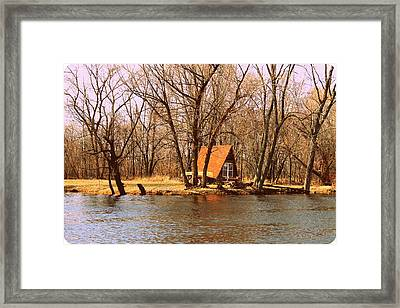 ottage oh the Fox River Framed Print by Victoria Sheldon