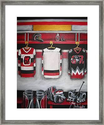 Ottawa 67's Goalie Locker Room Framed Print by Jill Alexander