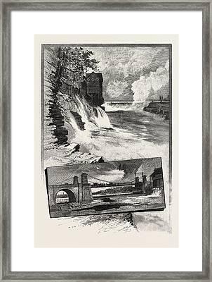 Ottawa, Chaudiere Falls, And Suspension Bridge Framed Print by Canadian School