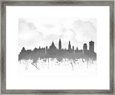 Ottawa Ontario Skyline - Gray 03 Framed Print by Aged Pixel
