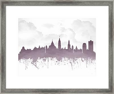Ottawa Ontario Skyline - Purple 03 Framed Print by Aged Pixel