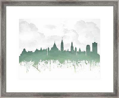 Ottawa Ontario Skyline - Teal 03 Framed Print by Aged Pixel