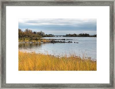 Ottawa River In The Fall. Champlain Bridge. Remic Rapids. Framed Print by Rob Huntley