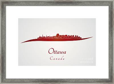Ottawa Skyline In Red Framed Print by Pablo Romero