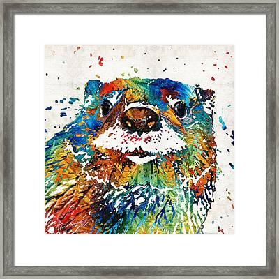 Otter Art - Ottertude - By Sharon Cummings Framed Print by Sharon Cummings