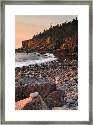 Otter Cliffs Morning Framed Print by Stephen  Vecchiotti