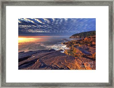 Otter Cove Sunrise Framed Print by Marco Crupi