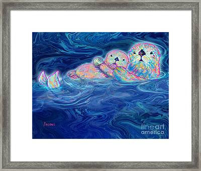 Framed Print featuring the mixed media Otter Family by Teresa Ascone