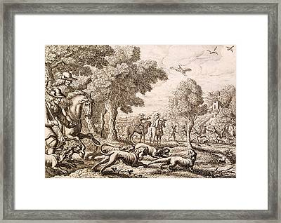 Otter Hunting By A River, Engraved Framed Print by Francis Barlow