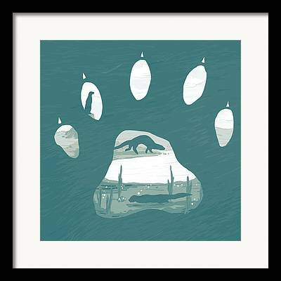 Otter Digital Art Framed Prints
