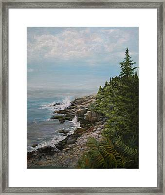 Framed Print featuring the painting Otter Point - New England by Sandra Nardone