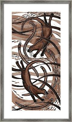 Otter With Eel, 2013 Woodcut Framed Print by Nat Morley