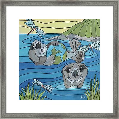 Otters & Dragonflies Framed Print