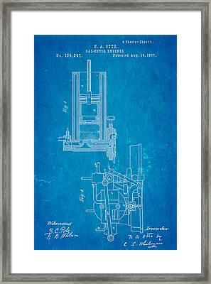 Otto Gas Motor Engine Patent Art 1877 Blueprint Framed Print by Ian Monk