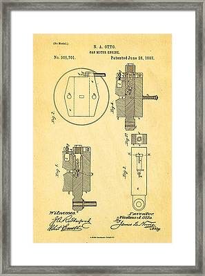 Otto Gas Motor Engine Patent Art 1887 Framed Print by Ian Monk