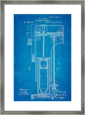 Otto Gas Motor Engine Patent Art 3 1877 Blueprint Framed Print by Ian Monk