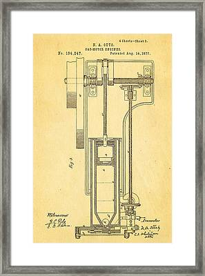 Otto Gas Motor Engine Patent Art 3 1877 Framed Print by Ian Monk