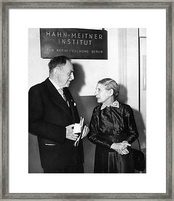 Otto Hahn And Lise Meitner Framed Print by Emilio Segre Visual Archives/american Institute Of Physics