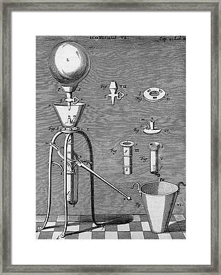 Otto Von Guericke's Improved Air Pump Framed Print by Universal History Archive/uig
