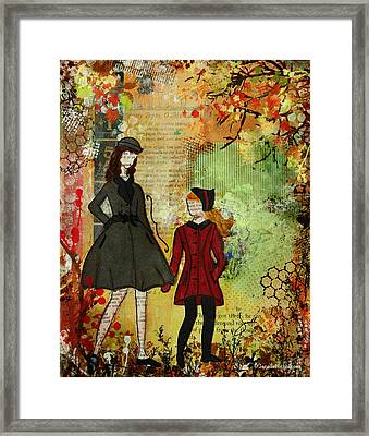 Our Best Memories  Autumn Days Mixed Media Folk Artwork Framed Print