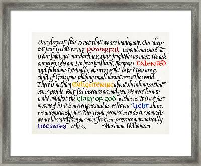Our Deepest Fear Framed Print
