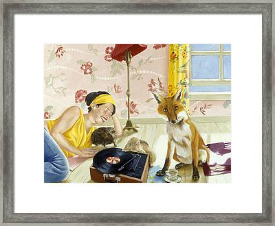 Our Fabulous Babysitter Acrylic & Oil On Canvas Framed Print by Alix Soubiran-Hall