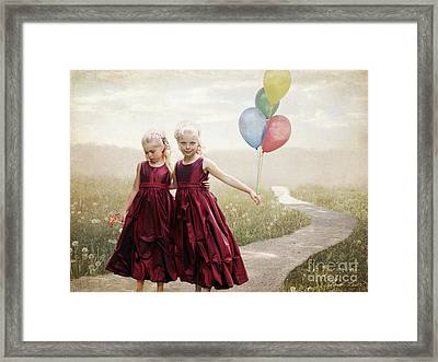 Our Hearts Say We're Friends Framed Print by Linda Lees