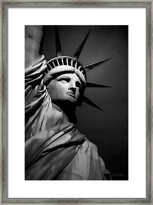 Our Lady Liberty In B/w Framed Print