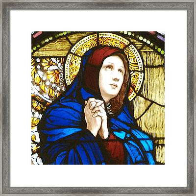 Our Lady Of Sorrows In Stained Glass Framed Print