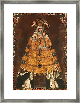 Our Lady Of The Rosary With St Dominick And St Rose Framed Print by Mountain Dreams