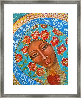 Our Lady Of The Roses Framed Print by Maya Telford