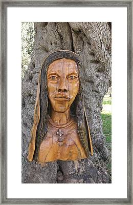 Our Lady Olive Wood Sculpture Framed Print by Eric Kempson