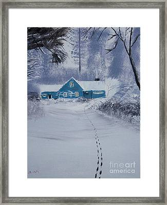 Our Little Cabin In The Snow Framed Print