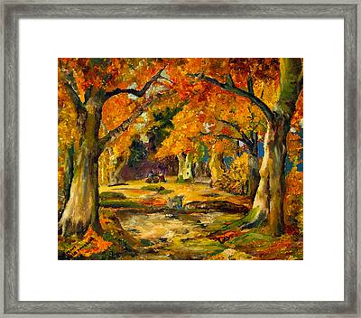 Framed Print featuring the painting Our Place In The Woods by Mary Ellen Anderson