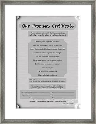 Our Promises Certificate Framed Print