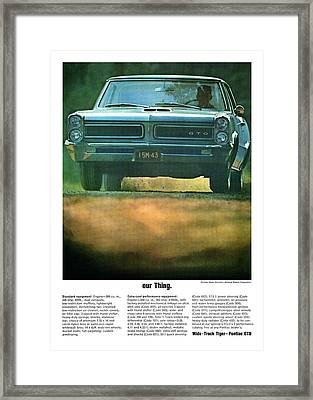 our Thing. 1965 Pontiac GTO Framed Print by Digital Repro Depot