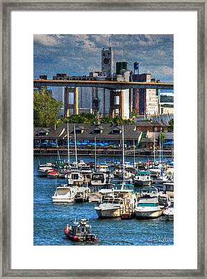 Out At The Harbor V3 Framed Print by Michael Frank Jr