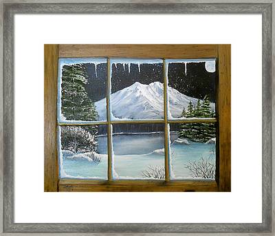 Out My Window-bright Winter's Night Framed Print by Sheri Keith