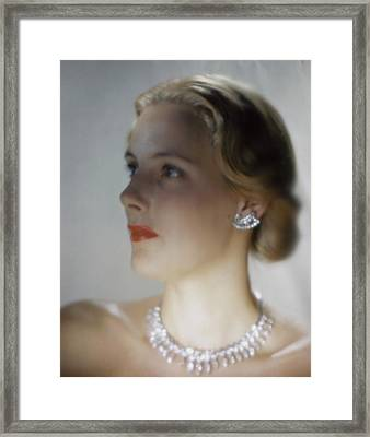 Out Of Focus Image Of A Model Wearing A Diamond Framed Print
