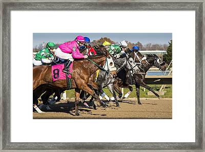 Framed Print featuring the photograph Out Of The Gate by Phil Abrams