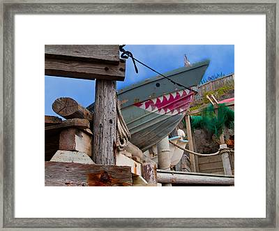 Out Of The Water - There's A Shark Framed Print