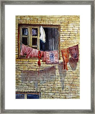 Out The Window Framed Print by Louise Peardon